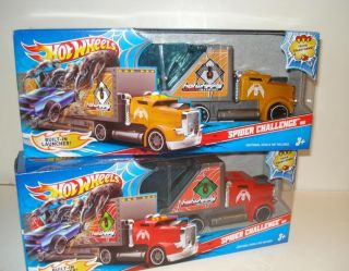 New HOT WHEELS Transformer SPIDER CHALLENGE Semi TRUCKS w LAUNCHER