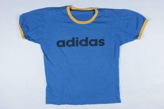 Vintage Adidas Two Tone Blue Faded Skate Surf Run DMC Skinny 50/50 T