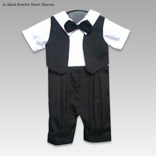 Baby boy infant Tuxedo suit romper tie bowtie gift xmas NY Vest