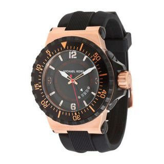 New* Michael Kors Mens Watch Oversized Rose Gold Black Silicone w