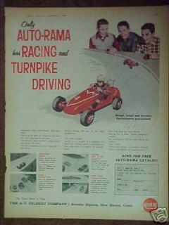 Vintage TOY AD 1962 Gilbert American Flyer Auto~Rama Slot Cars Kids