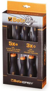BETA TOOLS ITALY PHILLIPS & SLOTTED SCREWDRIVER SET 8 PIECE SET