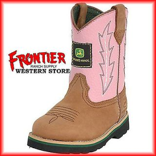 John Deere Toddler Wellington Kids Cowboy Boot Brown & Pink JD1185
