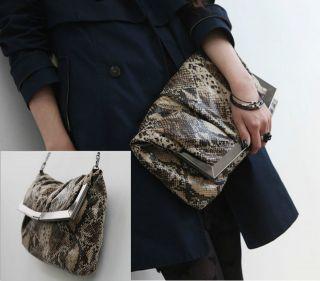 Women HandBag Luxury Oversize Anaconda Snake Skin Clutch Evening