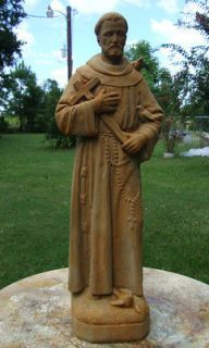 25 ST FRANCIS of ASSISI w/CROSS & 3 DOVES Buff Patina Cement Concrete