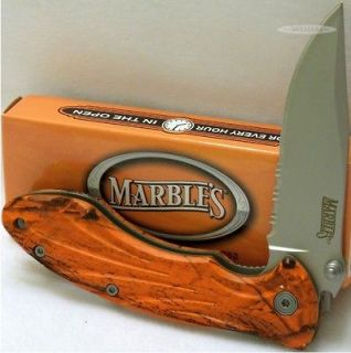 Marbles Knives Blaze Orange Camo Linerlock Hunter Hunting Skinning