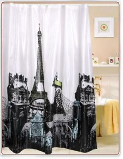 2012 HOT Paris Eiffel Tower Pattern EVA Waterproof Shower Curtains