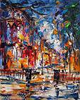 30x24 modern original art painting oil on canvas clean street night