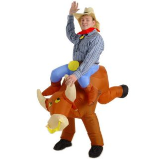 BULL RIDER FANCY DRESS COWBOY RODEO PARTY COSTUME WITH HAT STAG HEN