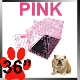 36 Pink Portable Folding Dog Pet Crate Cage Kennel Two Door ABS Tray