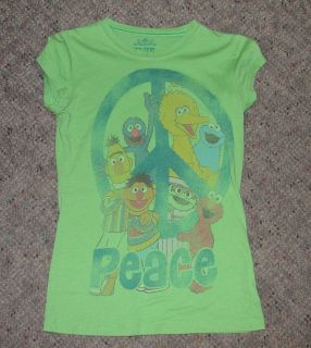 Juniors Medium Retro Sesame Street Peace Sign T Shirt Big Bird Oscar