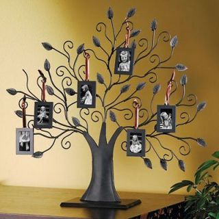 TREE PICTURE FRAME   BRONZE FAMILY TREE WITH 6 HANGING PICTURE