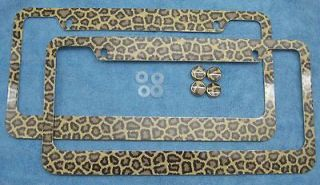 TWO) CHEETAH LICENSE PLATE FRAMES ANIMAL PRINT, I LOVE CHEETAH
