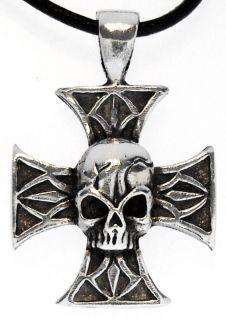 BIKER IRON CROSS SKULL Silver Pewter Pendant Leather