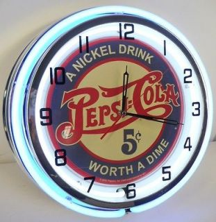 PEPSI COLA 18 NEON LIGHTED WALL CLOCK SODA POP ADVERTISING VINTAGE