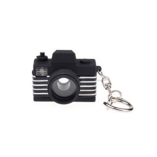 Fashionable Portable LED Light Black Camera With Sound Key Chain Ring