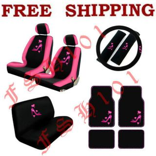 New Set Pink High Heel & Hearts Car Seat Covers Steering Wheel Cover