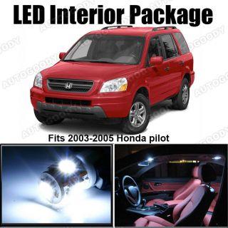 10 x White LED Lights Interior Package Kit for Honda PILOT 2003 2005