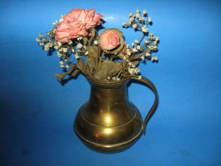Collectible Brass Pitcher with Dried Flower Arrangement Made in India