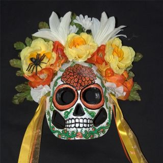 Sugar Skull MASK Day of the Dead Dia de los Muertos MARIGOLD Orange