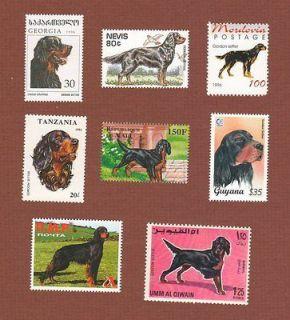 Gordon Setter dog postage stamps set of 8 MNH