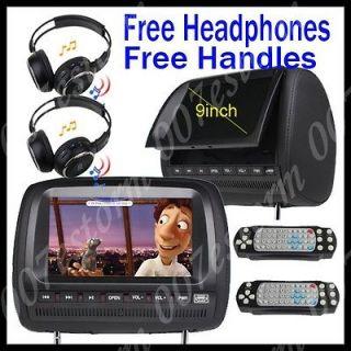 Dual Twin 9 In Car Headrest DVD Player Monitor Sony Lens USB SD Port
