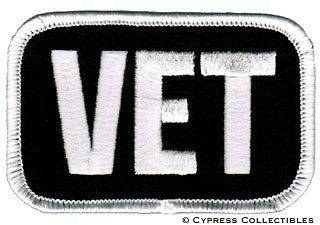 MILITARY VET MOTORCYCLE BIKER PATCH WHITE WAR EMBLEM embroidered iron