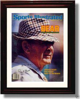 Bear Bryant Alabama 2/2/82 Framed SI Autograph Print
