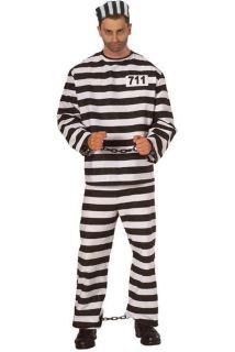 Mens Prisoner Convict Jail Inmate Costume Fancy Dress Up Size Large