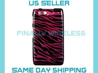 Black Purple Plum Zebra Fur Print Case Cover Motorola Droid Razr XT912