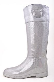 SANRIO HELLO KITTY SILVER GLITTER ANGELINA TALL MID CALF RAIN BOOTS