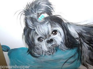 Shih Tzu Dog Puppy Painting on Board Original Art 1 GREAT GIFT