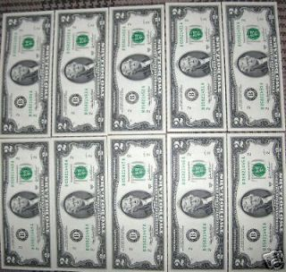 10 CRISP UNCIRCULATED 2003A 2 $2 TWO DOLLAR BILLS IN SERIAL # ORDER A
