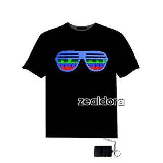 Sound Activated Glasses shape LED Light EL Music T Shirt Party Dance