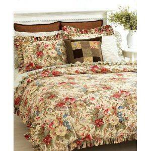 NWT RALPH LAUREN COASTAL GARDEN Beautiful Beige Floral Comforter Cover