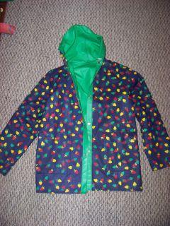 womens vtg 80s novelty preppy fruit hooded raincoat lined snaps