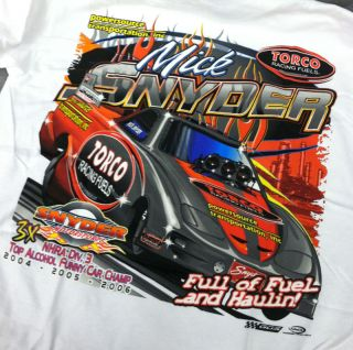 Alcohol Funny Car Tee Shirt NHRA Mick Snyder T Shirt Medium Drag Race