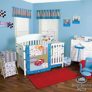 Kid Toddler Nascar Race Car For Crib Nursery Blanket Theme Bedding Set