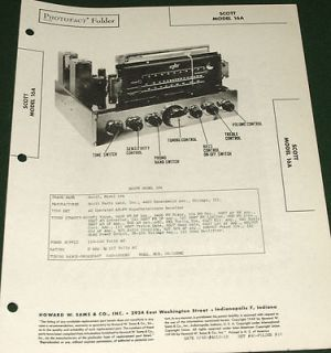 SCOTT Receiver/Amp Model 16A ORIGINAL 1948 Photofact Service Manual
