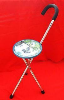 Chair Seat Metal Portable Stool Cane Walking Stick #4