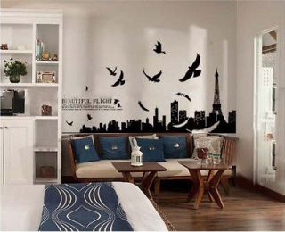 Scenery Eiffel the Tower Wall Stickers Decor Decals Removable Art