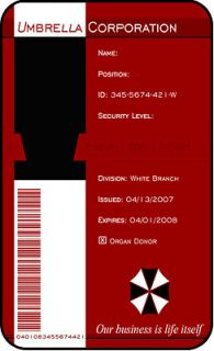 Umbrella Corp Cosplay ID Badge Comic Con Costume