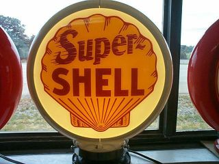 gas pump globe SUPER SHELL & LIGHT STAND NEW repro. 2 GLASS LENS