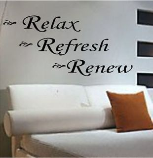 RELAX REFRESH RENEW *Vinyl Lettering*Quotes*Wall Decals*House*Bedroom