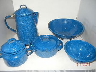 Vintage Blue Speckled Enamel Ware Camp Coffee Pot Tea Kettle Carafe