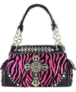 Zebra Print Hot Pink Purse w/ Rhinestone Cross and matching wallet