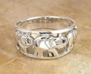 GRAND STERLING SILVER LUCKY ELEPHANT BAND RING size 8