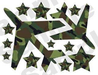 CAMO AIRPLANE AVIATOR STARS KIDS ROOM BOY WALL STICKERS DECALS DECOR
