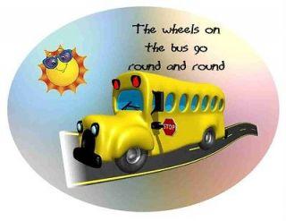 Custom Made T Shirt Wheels On Bus Go Round School Happy Sun Fun Kids