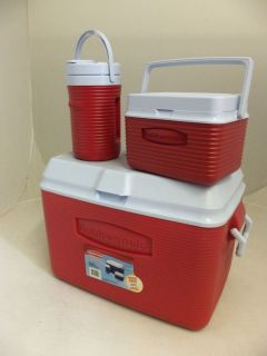 RUBBERMAID 48 QUART VICTORY COOLER ICE CHEST 3 PIECE VALUE PACK 2A17